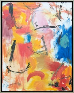 Denouement No 53 - warm, bright, colourful, gestural, abstract, oil on canvas
