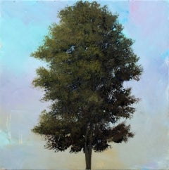 Erable No 2 - small, green, mauve, tree, impressionist, acrylic, resin on panel