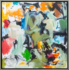 Denouement No 38 - bright, bold, colourful, gestural, abstract, oil on canvas