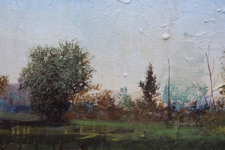 Lush, romantic imagery with a distressed surface. Hoffer's technique presents great depth of field and features hues of lavender and blues. Towards the bottom of the picture plane, the application of paint shifts from realism to painterly drips.