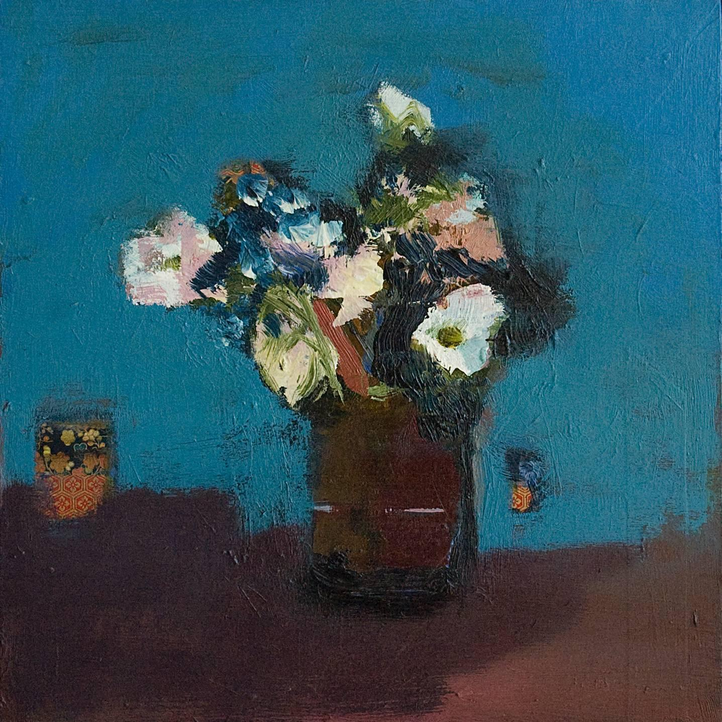 Brown Vase with White Flowers - small blue, green, figurative still life oil