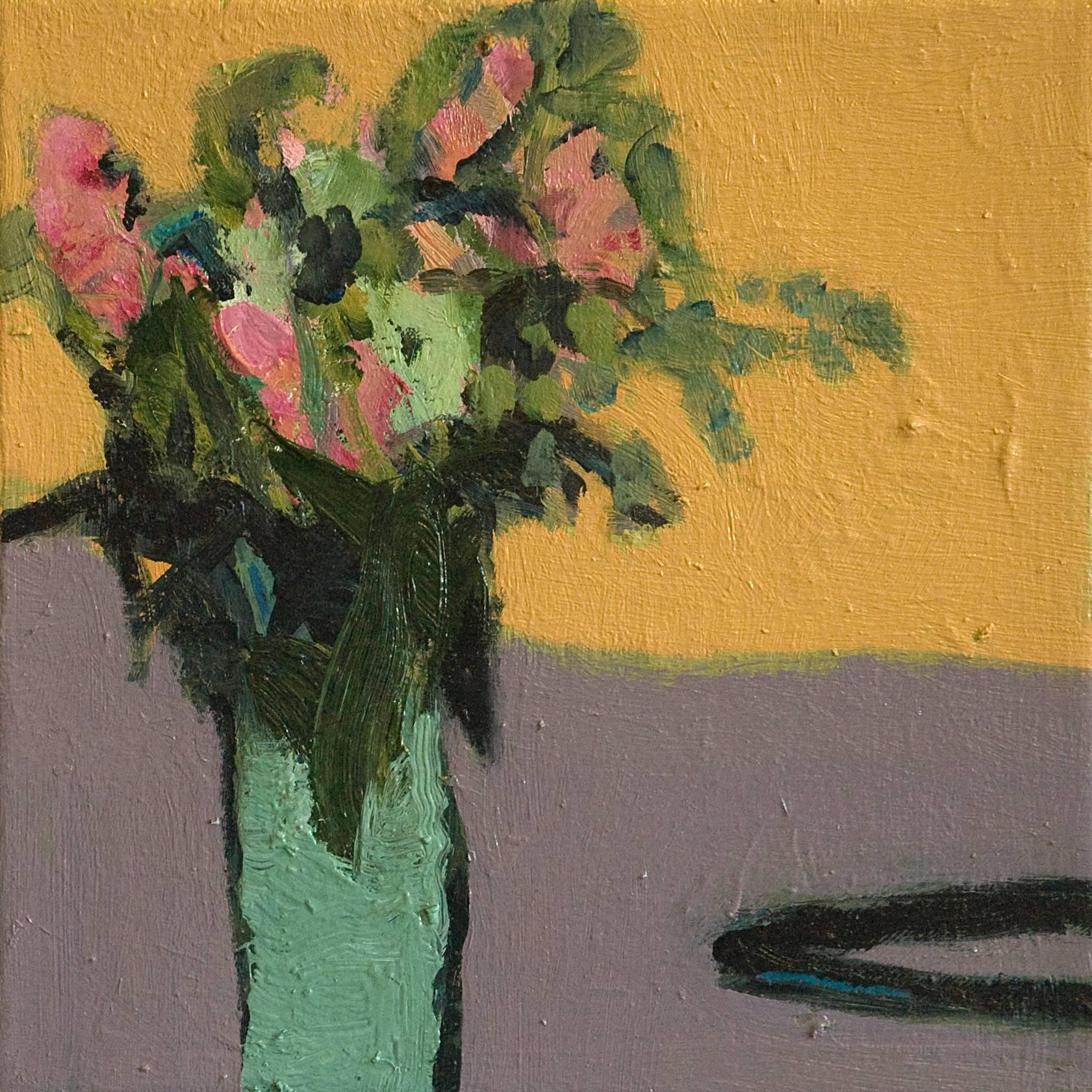 Flowers with Black Cord - small orange, green, purple, figurative still life oil