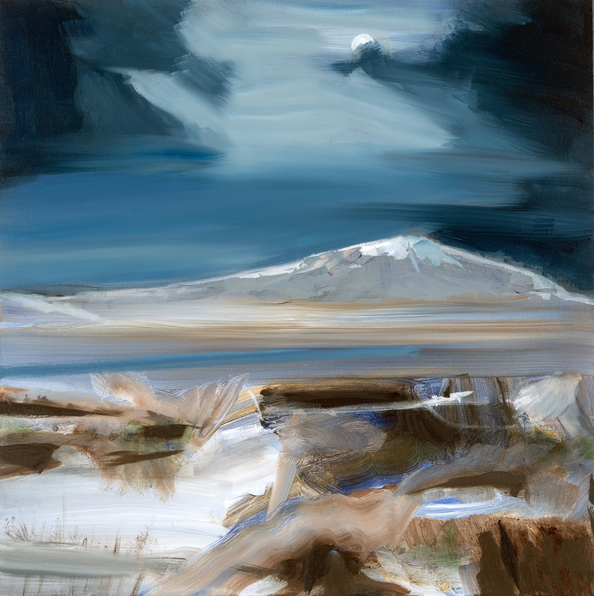 Moon and Mountain - moonlit landscape with strokes of sienna, indigo and white