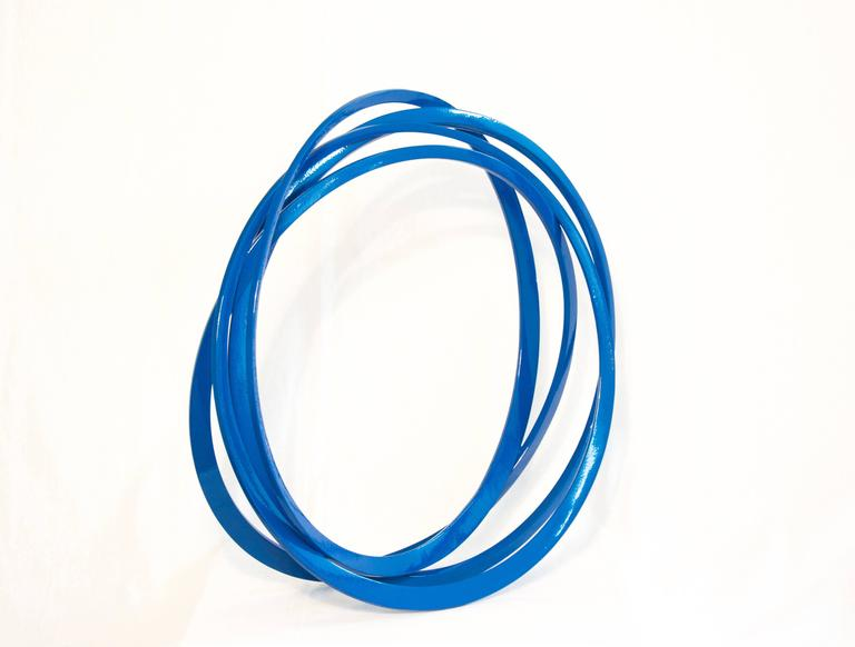 Shayne Dark Abstract Sculpture - Round and Round Blue