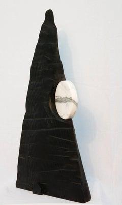 Moon - dynamic, dark, modern, contemporary, abstract, wooden sculpture