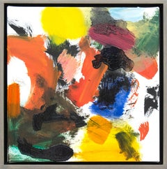 Denouement No 40 - small, bold, colourful, gestural abstract, oil on canvas