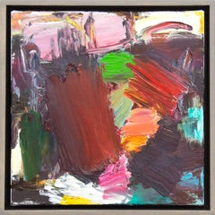 Denouement No 57 - small, bold, colourful, gestural, abstract, oil on canvas
