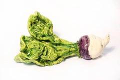 Large Rutabaga - green, purple, still-life, figurative, ceramic sculpture