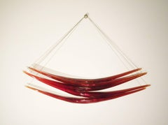 Red Wave - glass, copper, translucent, abstract suspended wall sculpture