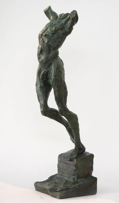 Moving Forward - Sculpture XXIV 2/8 - strong posed male nude bronze figure