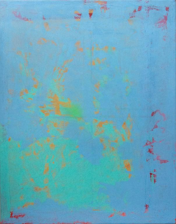 Turquoise and True Blue Abstraction
