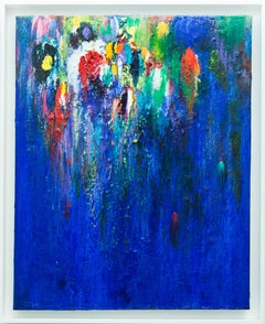 Night of the Amazon Parrot - blue, green, red, white, yellow acrylic abstract