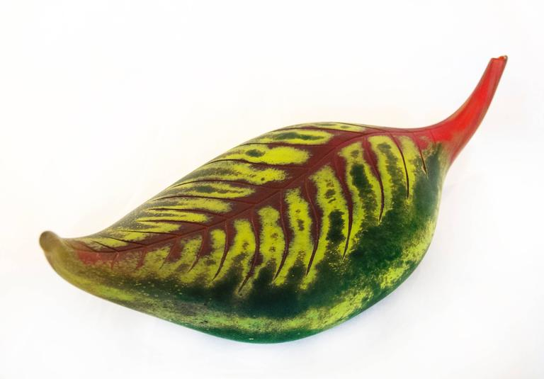 Fallen Leaf Red and Green - Contemporary Sculpture by Eileen Gordon