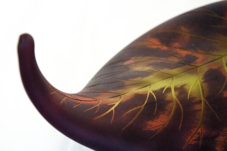 Fallen Leaf, Red and Purple Glass - Brown Still-Life Sculpture by Eileen Gordon
