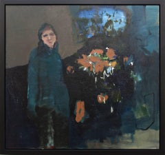 Woman in Blue - large green, indigo, orange, woman, floral figurative oil