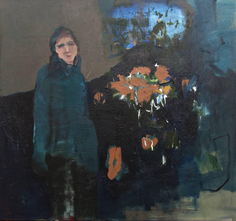 Woman in Blue - large green, indigo, orange, woman, floral figurative oil - Painting by Jennifer Hornyak