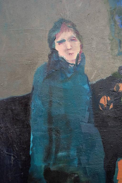 Woman in Blue - large green, indigo, orange, woman, floral figurative oil For Sale 1