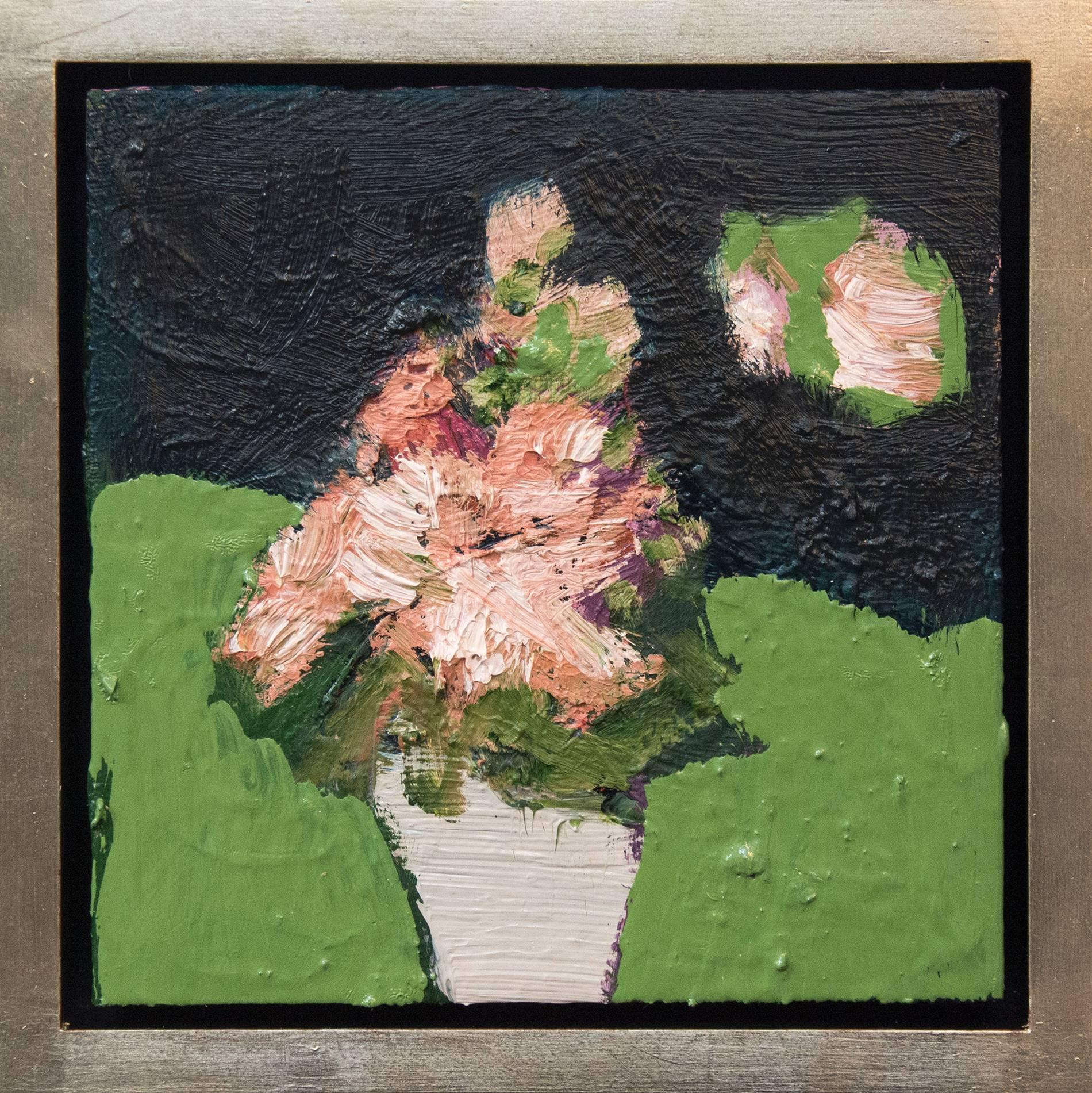 Grey Pot - small dark green, orange, pink, figurative still life oil