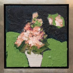 Grey Pot - small dark green, orange, pink, figurative still life oil