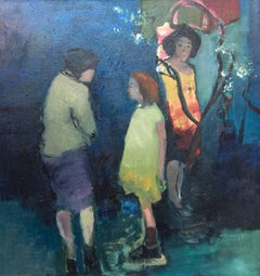 Girl with Two Women - Large green, blue, yellow, female figurative oil