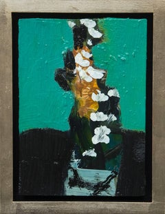 White Flowers with Collage - small green, orange, teal floral still life oil
