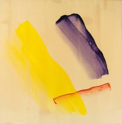 The Colour of Light - large, yellow, purple, gestural abstract acrylic on canvas