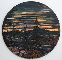 Last Light on Bay Finn - dark, sunset, landscape, textured, tondo, oil on canvas