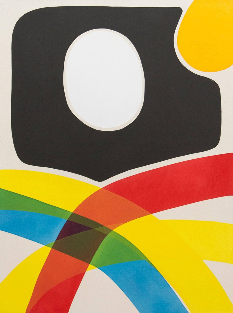 Aron Hill Abstract Painting - Cutout With White and Yellow
