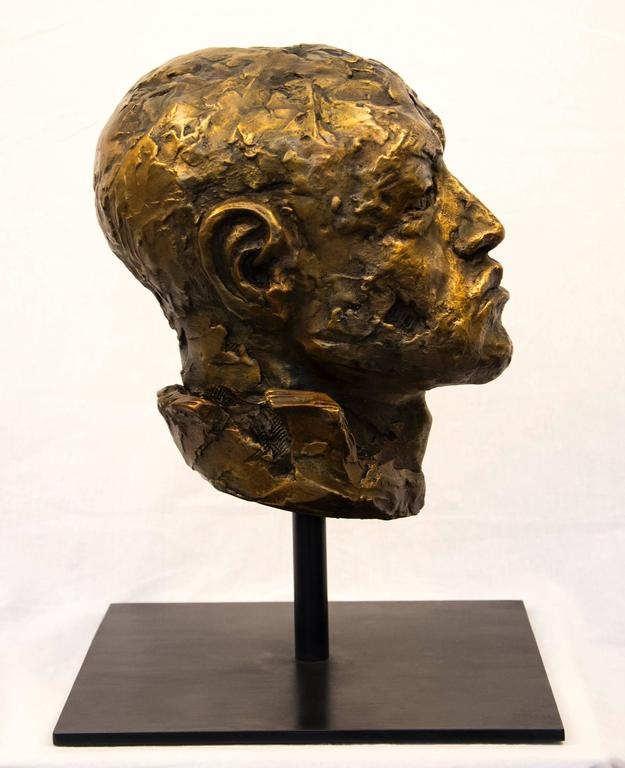 Indelible - small, expressive, figurative, male, bust, bronze, sculpture - Sculpture by Sylvain Louis-Seize