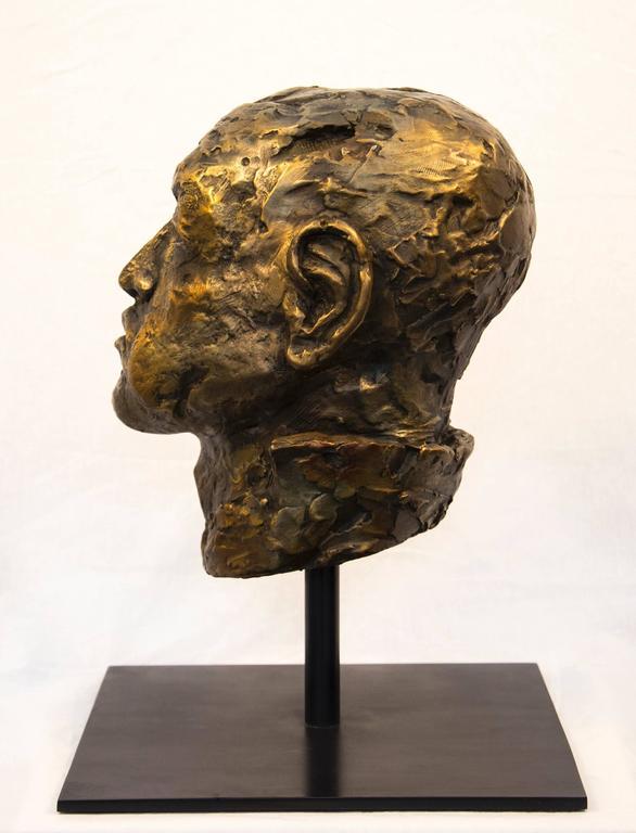Indelible - small, expressive, figurative, male, bust, bronze, sculpture - Gold Figurative Sculpture by Sylvain Louis-Seize
