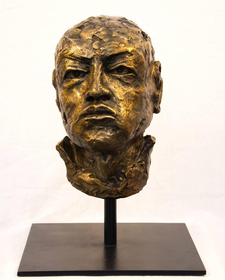 Sylvain Louis-Seize Figurative Sculpture - Indelible - small, expressive, figurative, male, bust, bronze, sculpture