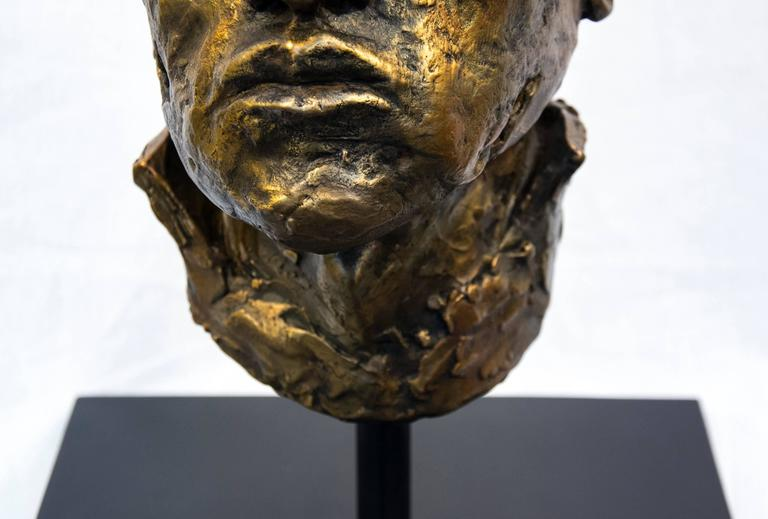 Indelible - small, expressive, figurative, male, bust, bronze, sculpture For Sale 2