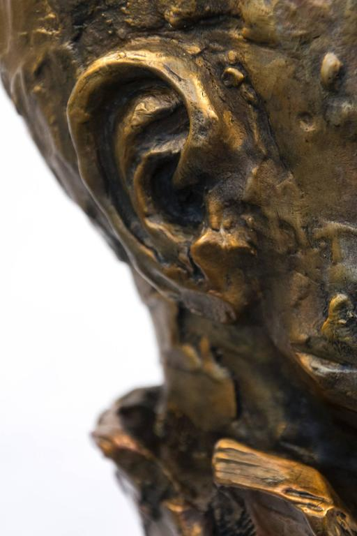 Indelible - small, expressive, figurative, male, bust, bronze, sculpture For Sale 5