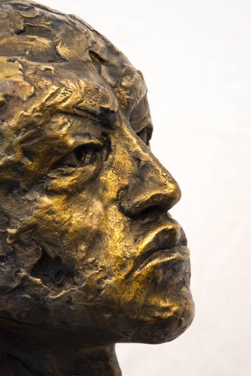 Indelible - small, expressive, figurative, male, bust, bronze, sculpture For Sale 4