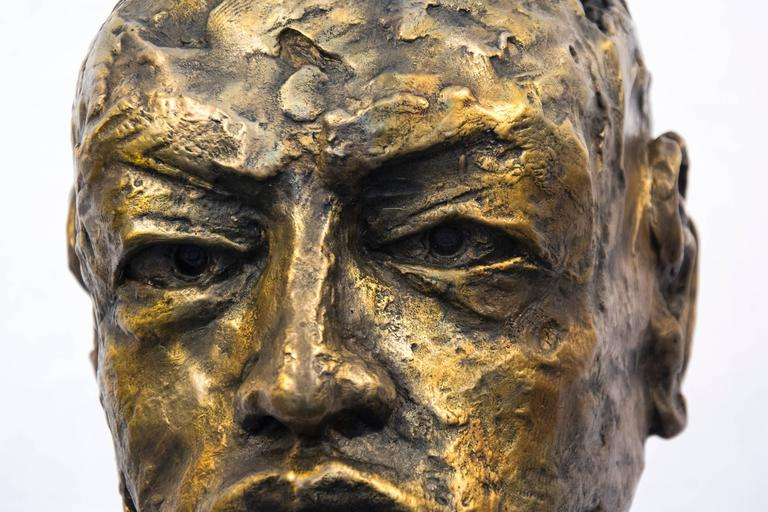 Indelible - small, expressive, figurative, male, bust, bronze, sculpture For Sale 1