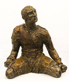 Will Power - strong, male figure, kneeling, rough texture, bronze sculpture
