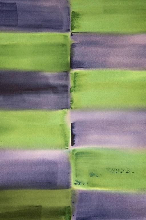Winter Solstice - purple and green grid, geometric abstract, acrylic on canvas - Painting by Milly Ristvedt