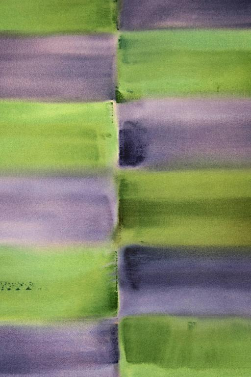 Winter Solstice - purple and green grid, geometric abstract, acrylic on canvas - Contemporary Painting by Milly Ristvedt
