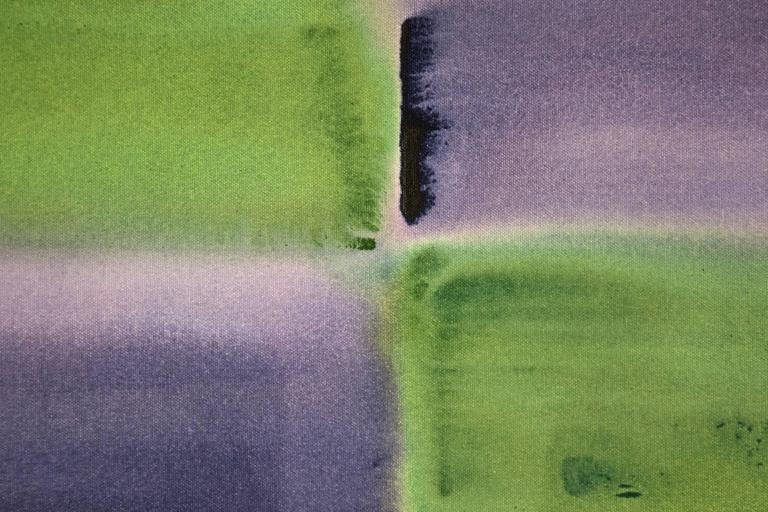 Winter Solstice - purple and green grid, geometric abstract, acrylic on canvas - Gray Abstract Painting by Milly Ristvedt