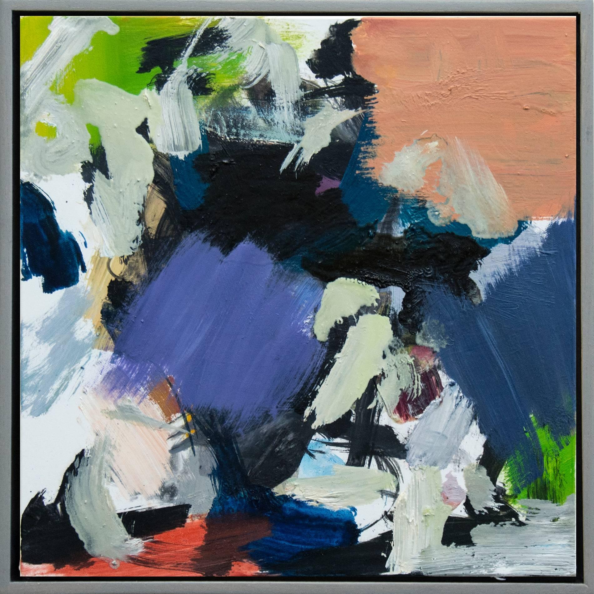 Kairoi No 21 - small blue, white, peach, green, gestural abstract, oil on canvas