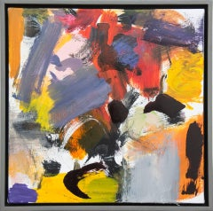 Kairoi No 23 - small blue, red, yellow, orange, gestural abstract, oil on canvas