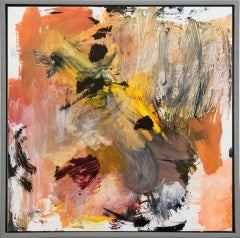 Ouvert No 6 - small, red, yellow, pink, green, gestural abstract, oil on canvas