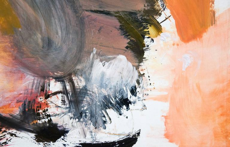 Small scale abstraction, exploring the idea of the openings created by architectural space in shades of tangerine, umber, with black gestures.   This work is accompanied by the recent book publication, SCOTT PATTINSON. One of the essays was written