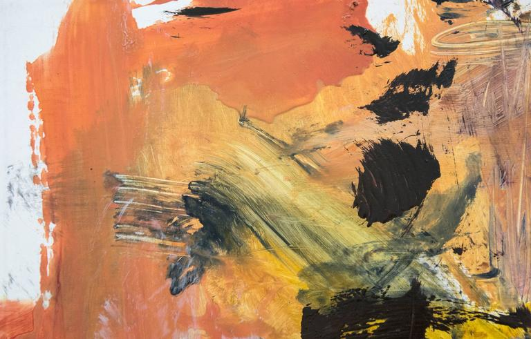 Ouvert No 6 - small, red, yellow, pink, green, gestural abstract, oil on canvas For Sale 1