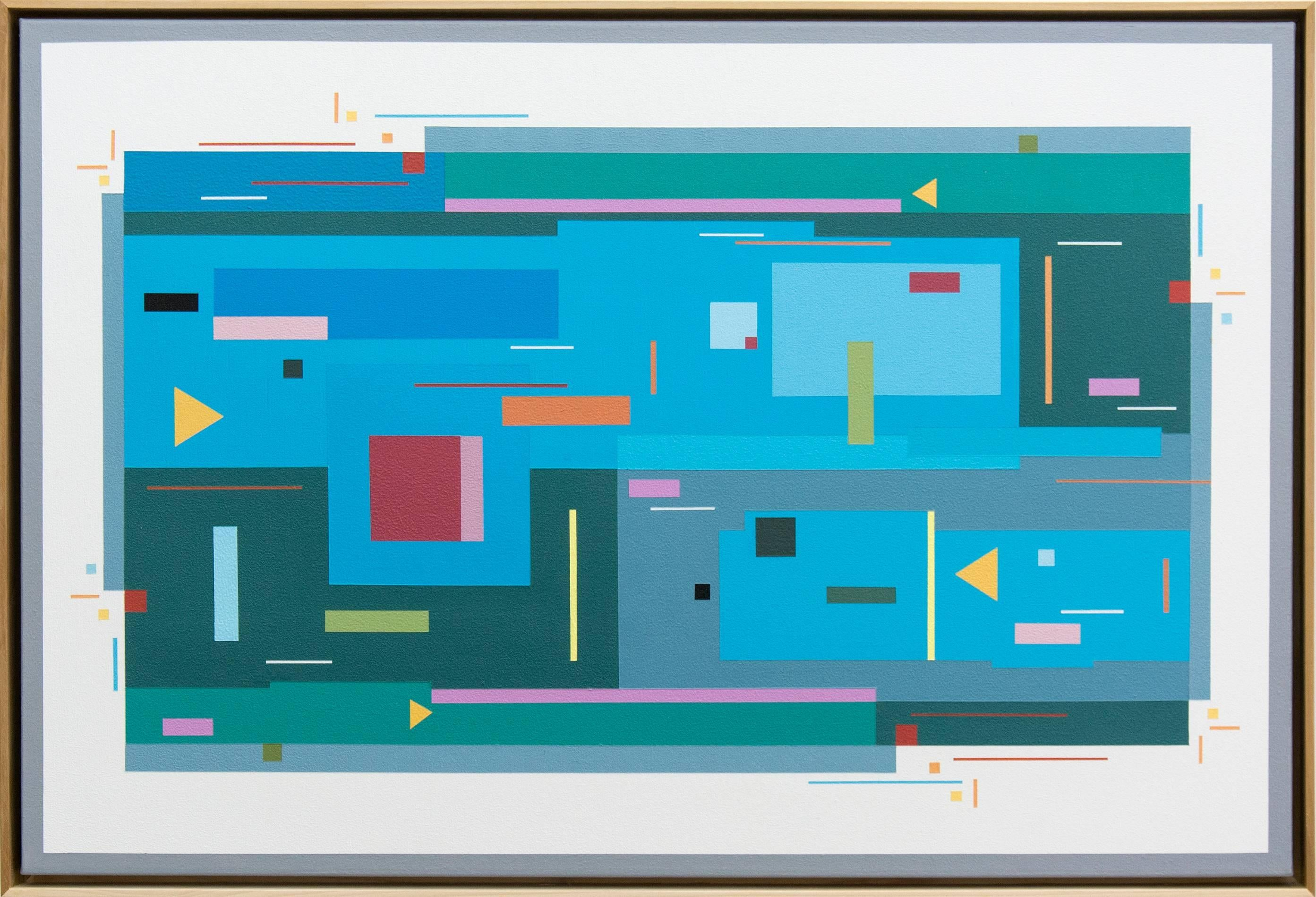 Contradanse 1.1 - bright, geometric abstraction, modernist acrylic on canvas