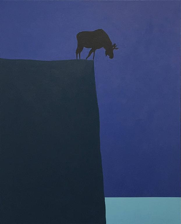 Graphic painting of a moose in silhouette, on the brink of a cliff.   Often referred to as Canada's Warhol, painter, print maker, sculptor, designer, historian, and author Charles Pachter is a leading contemporary Canadian artist. Pachter is an