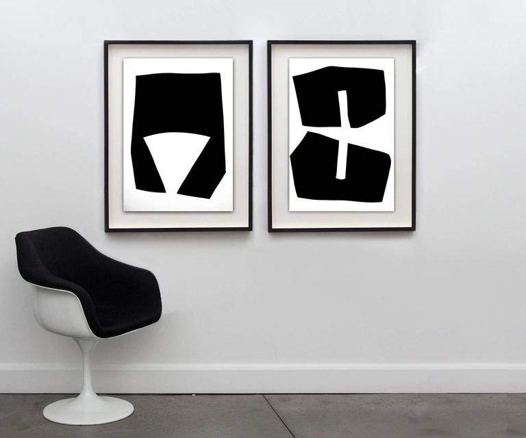 Minimalist work on paper painted using black gesso, unframed.   One of eight in his series of Black and White Drawings. These pieces are striking when installed in a group.  Aron Hill works in a formalist style of painting that recalls aspects of