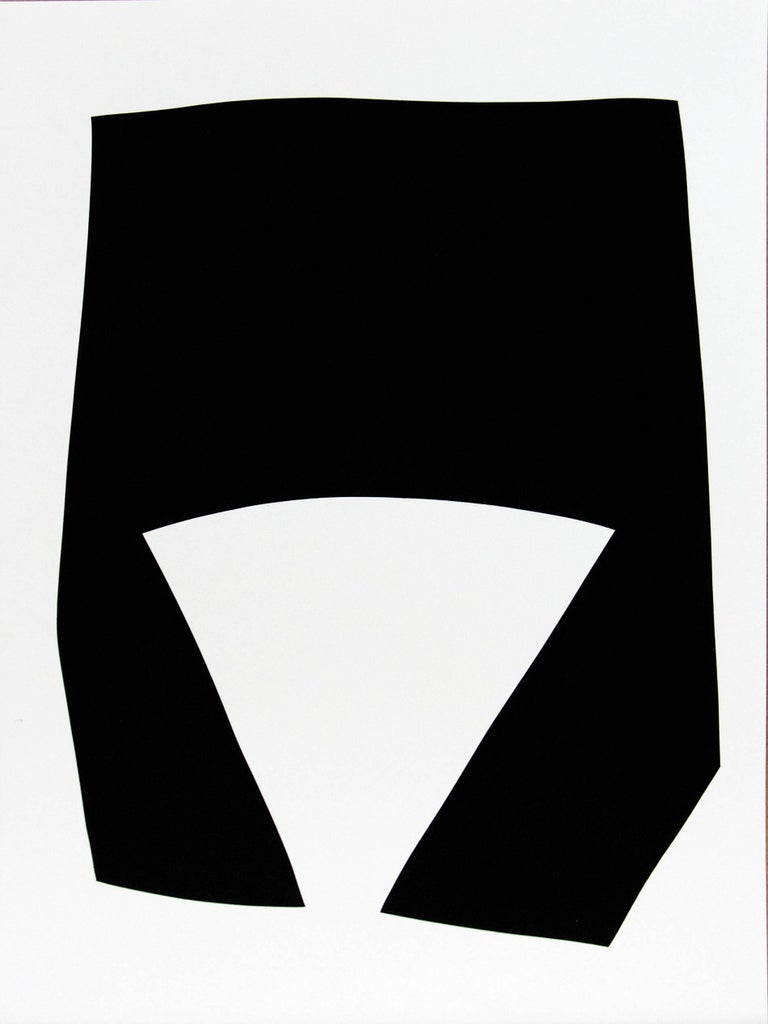 Aron Hill Abstract Painting - Fan Cutout : Black and White Series
