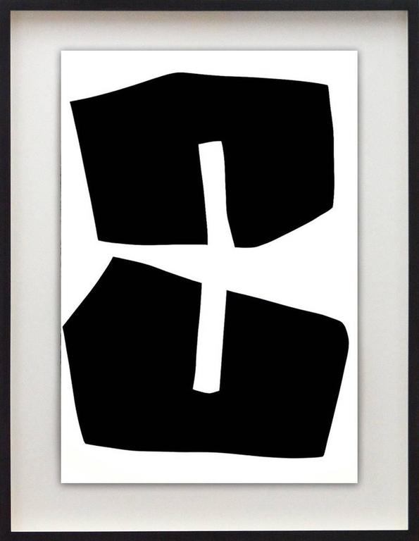 Plus Black Shape : Black and White Series  - Painting by Aron Hill