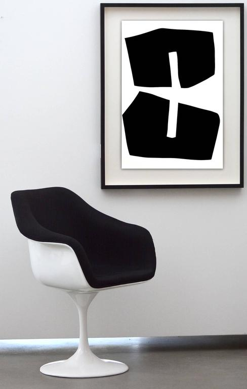 Plus Black Shape : Black and White Series  - Contemporary Painting by Aron Hill